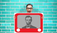 Etch a sketch abraham lincoln Retro 70's 80's - Wall Art Print Poster   - Purple Geekery